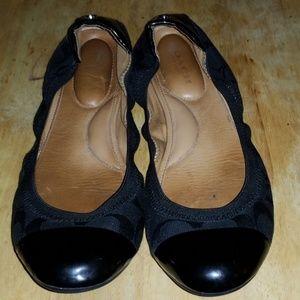 COACH WANDA BLACK BALLET FLAT SIZE 8B